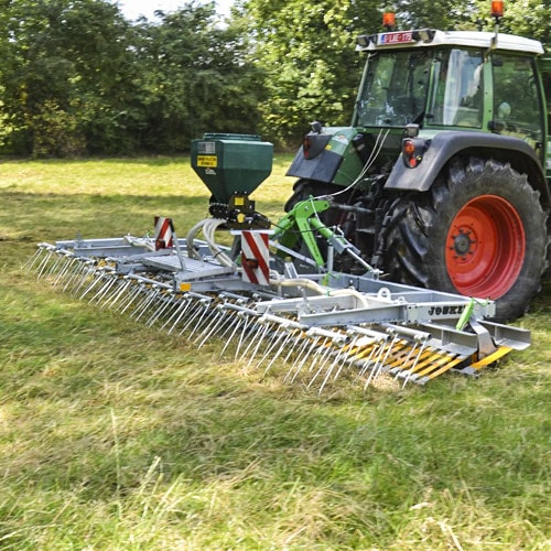 Harrowing dung and molehills, aeration and scarifying